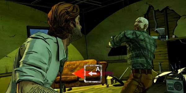 The woodsman readies his axe while the player is prompted to hit the A key